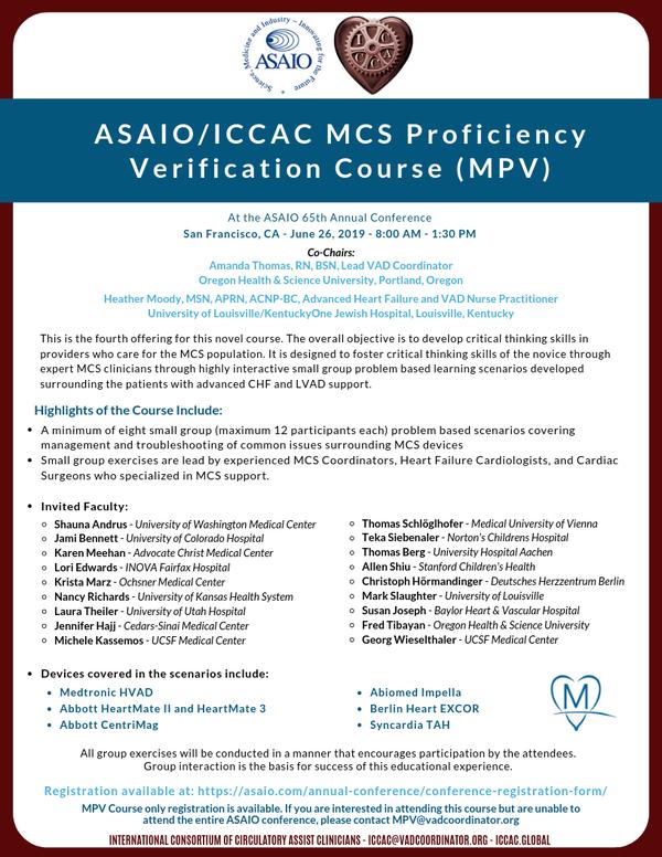 ASAIO MPV Course - June 26, 2019 8:00am-1:30pm | ICCAC